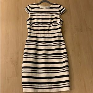 Jcrew Cream and Navy Striped Work dress